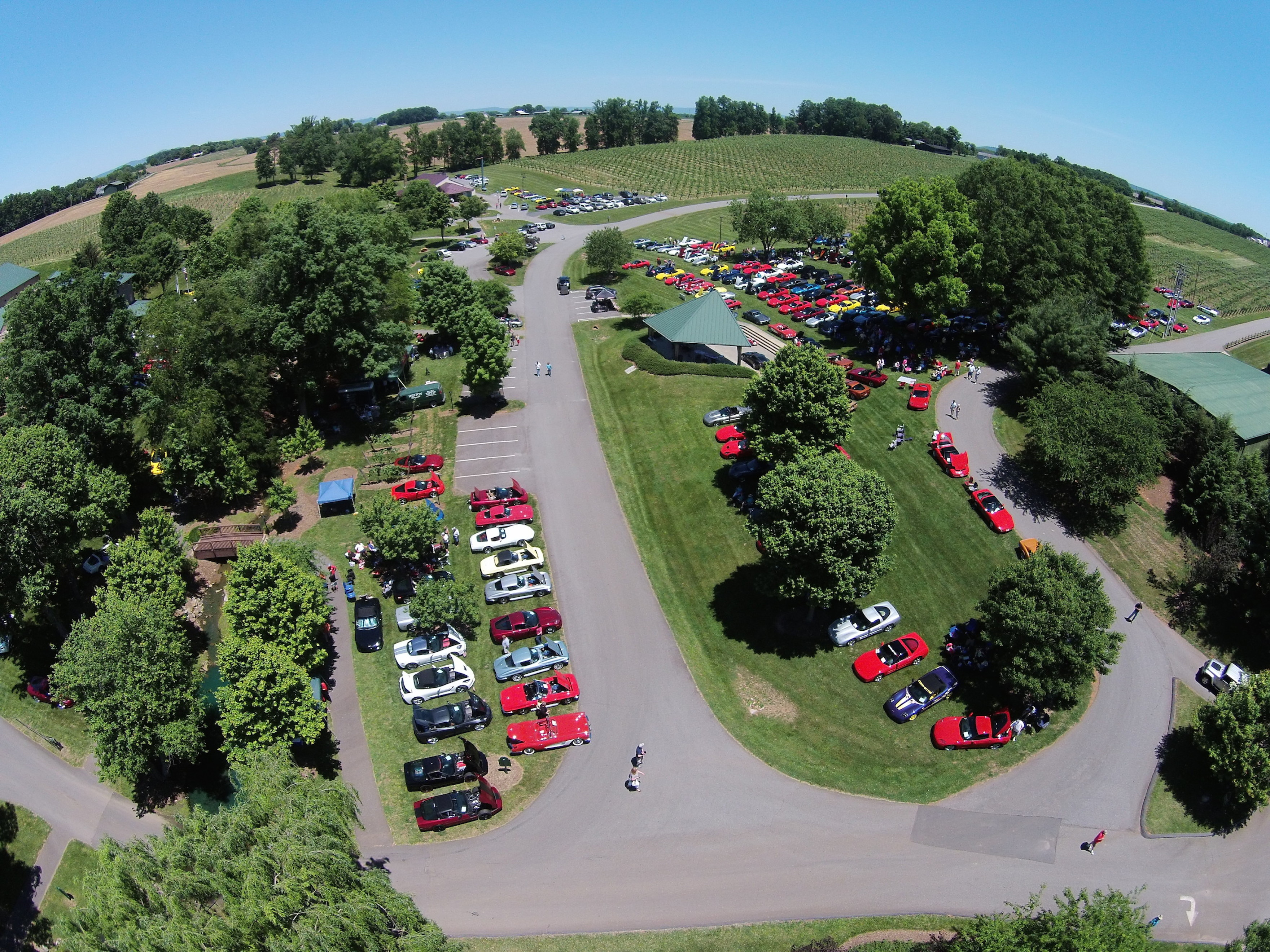 Aerial View Vettes for Vets - Shelton Winery Corvette Show